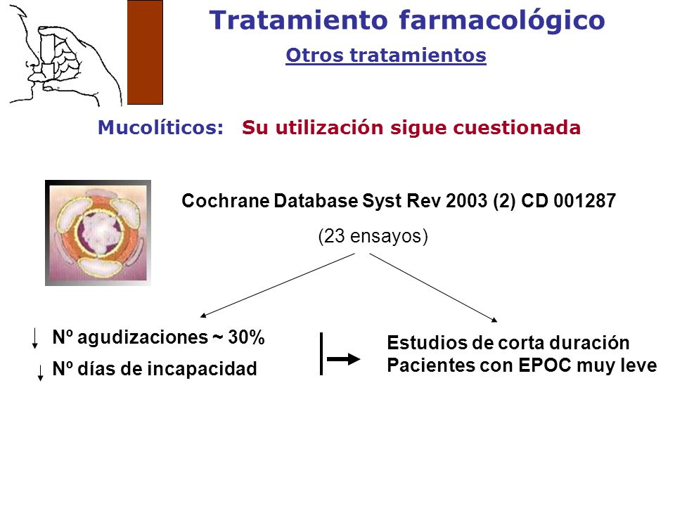 Tratamiento farmacológico Otros tratamientos Mucolíticos: Su utilización sigue cuestionada (23 ensayos) Nº agudizaciones ~ 30% Nº días de incapacidad