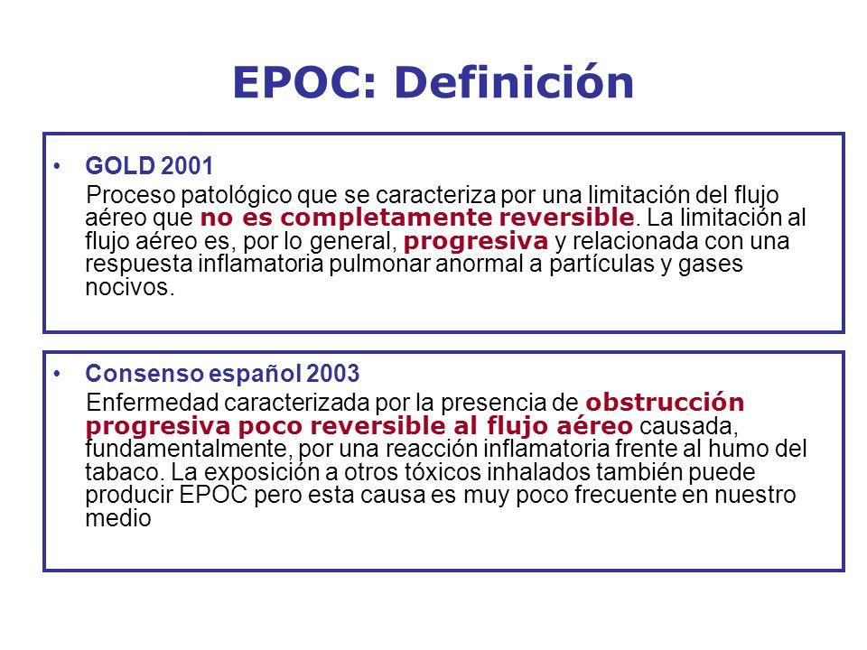 EPOC: Definición GOLD 2001 Proceso patológico que se caracteriza por una limitación del flujo aéreo que no es completamente reversible. La limitación
