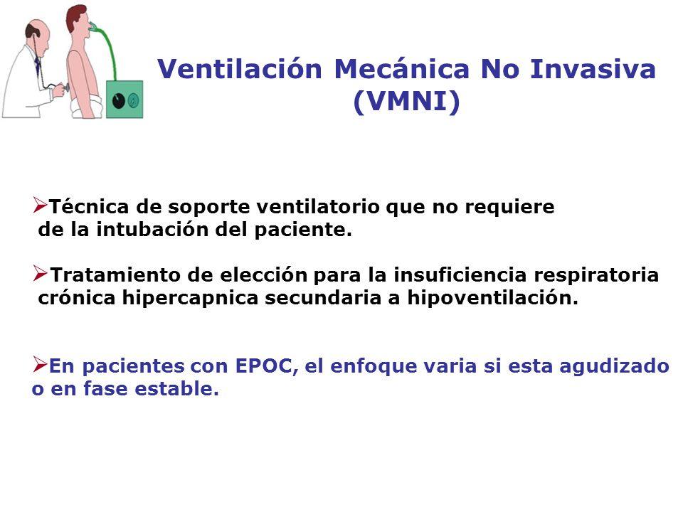 Ventilación Mecánica No Invasiva (VMNI) Técnica de soporte ventilatorio que no requiere de la intubación del paciente. Tratamiento de elección para la