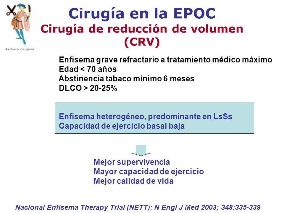 Cirugía en la EPOC Cirugía de reducción de volumen (CRV) Nacional Enfisema Therapy Trial (NETT): N Engl J Med 2003; 348:335-339 Enfisema grave refract