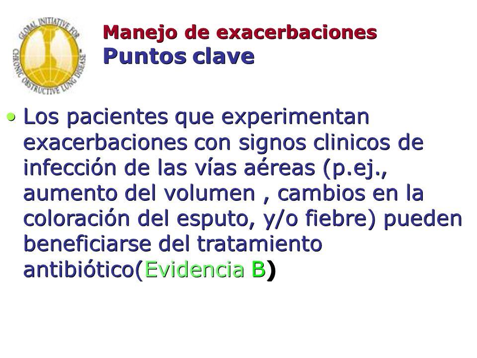 Manejo de exacerbaciones Puntos clave Los pacientes que experimentan exacerbaciones con signos clinicos de infección de las vías aéreas (p.ej., aument