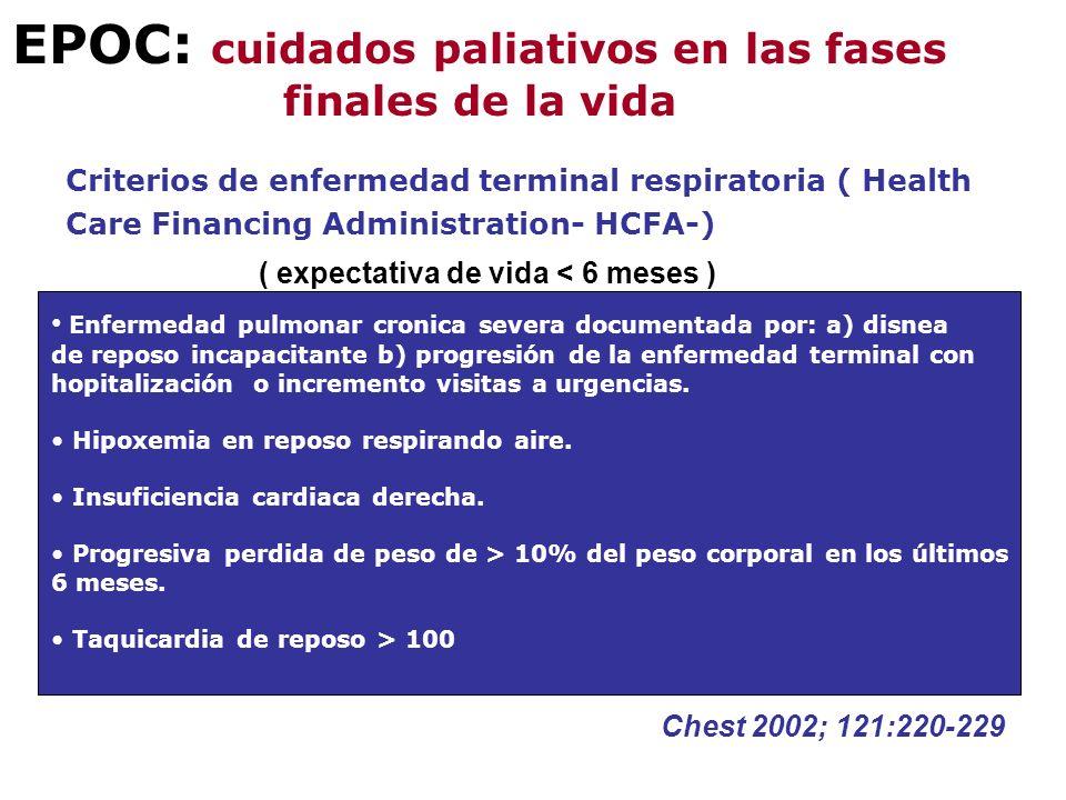 EPOC: cuidados paliativos en las fases finales de la vida Criterios de enfermedad terminal respiratoria ( Health Care Financing Administration- HCFA-)