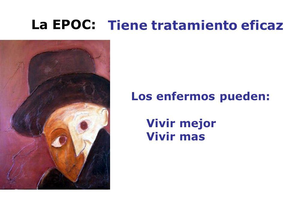 La EPOC: Tiene tratamiento eficaz Los enfermos pueden: Vivir mejor Vivir mas