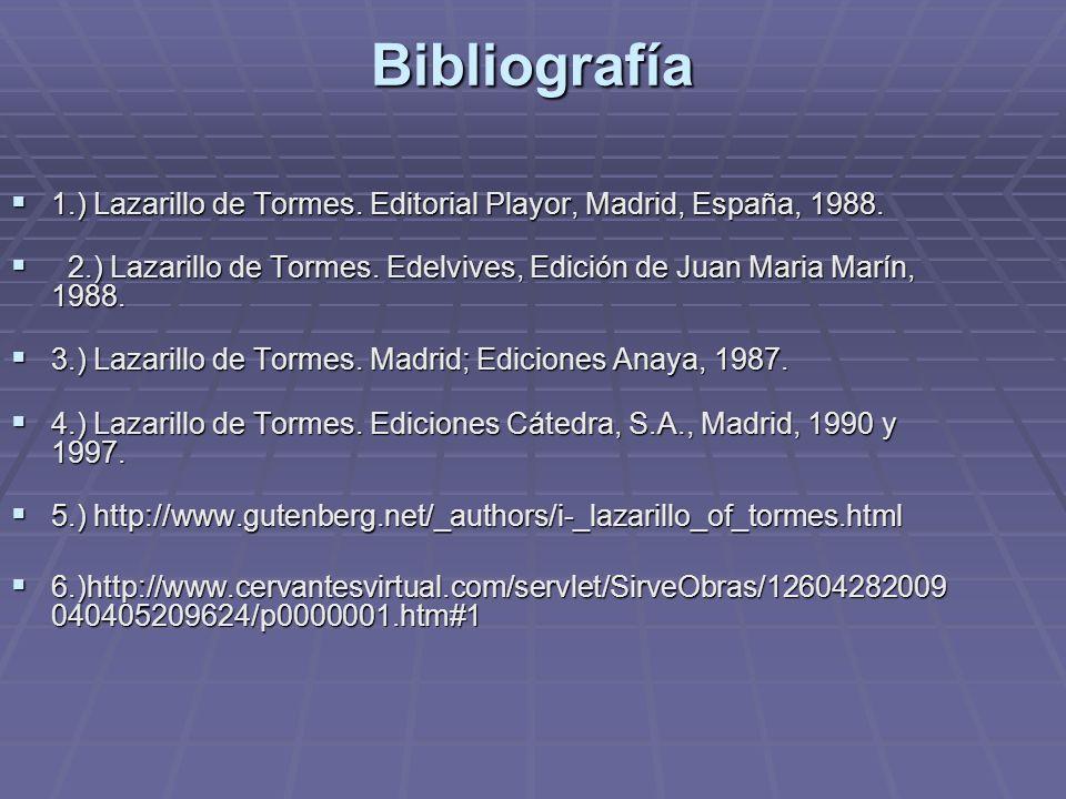 Bibliografía 1.) Lazarillo de Tormes. Editorial Playor, Madrid, España, 1988. 1.) Lazarillo de Tormes. Editorial Playor, Madrid, España, 1988. 2.) Laz
