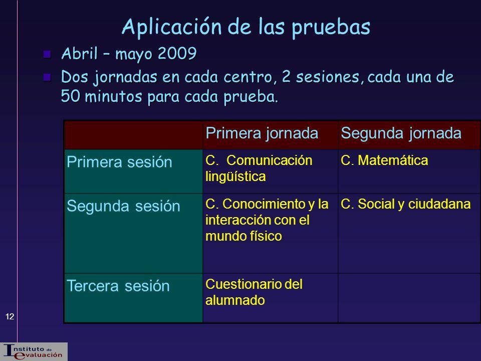 12 Aplicación de las pruebas Abril – mayo 2009 Abril – mayo 2009 Dos jornadas en cada centro, 2 sesiones, cada una de 50 minutos para cada prueba. Dos