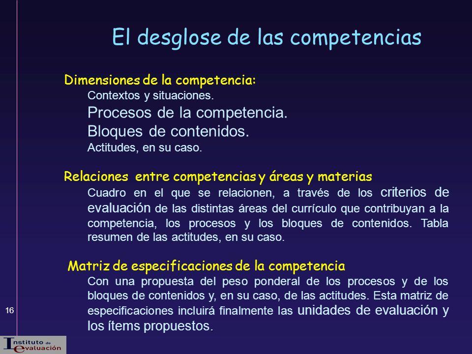 16 El desglose de las competencias Dimensiones de la competencia: Contextos y situaciones. Procesos de la competencia. Bloques de contenidos. Actitude