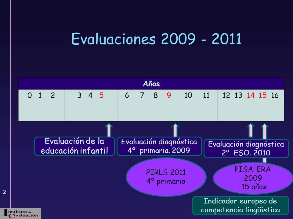 2 Evaluación de la educación infantil PIRLS 2011 4º primaria Evaluaciones 2009 - 2011 Evaluación diagnóstica 4º primaria. 2009 PISA-ERA 2009 15 años E