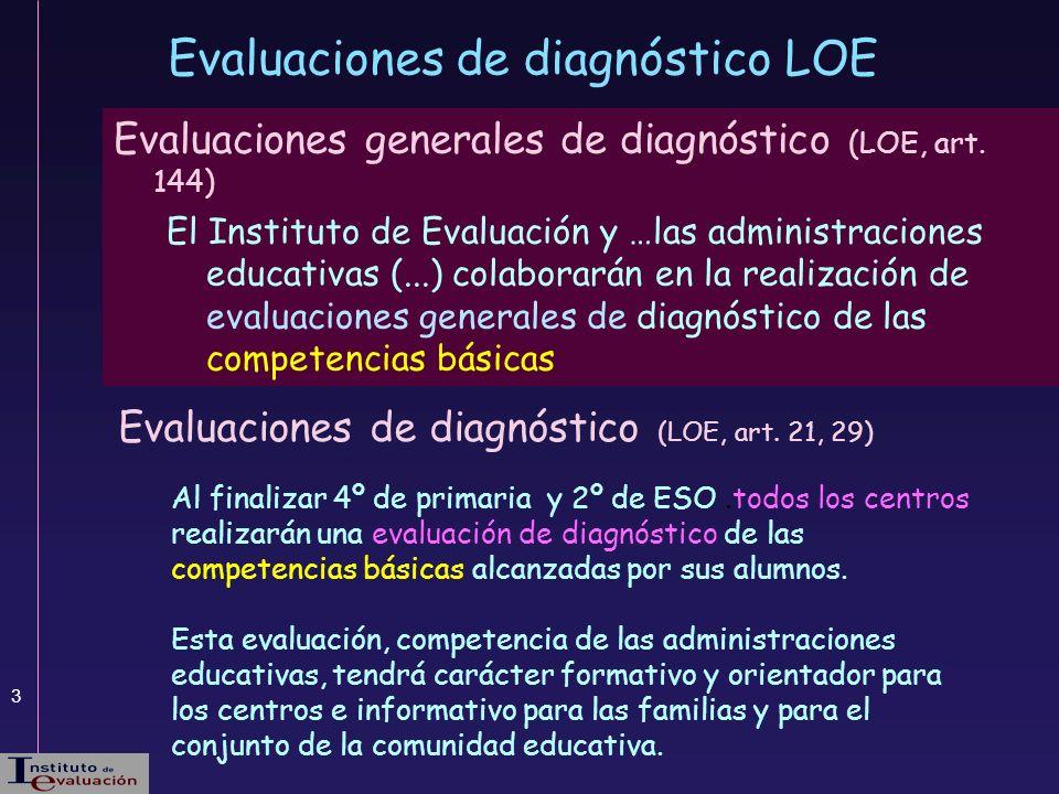 3 Evaluaciones generales de diagnóstico (LOE, art. 144) El Instituto de Evaluación y …las administraciones educativas (...) colaborarán en la realizac