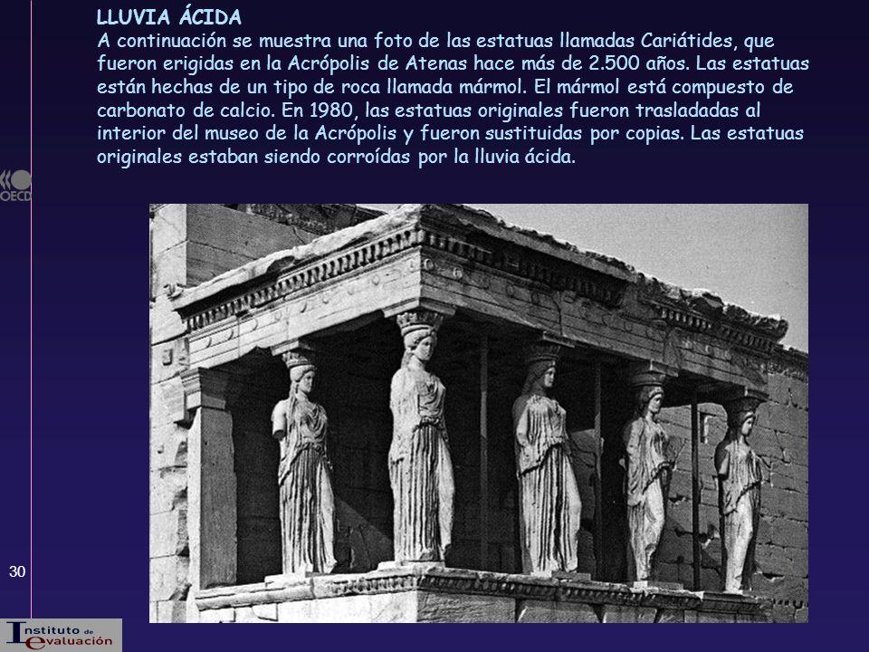 30 LLUVIA ÁCIDA A continuación se muestra una foto de las estatuas llamadas Cariátides, que fueron erigidas en la Acrópolis de Atenas hace más de 2.50