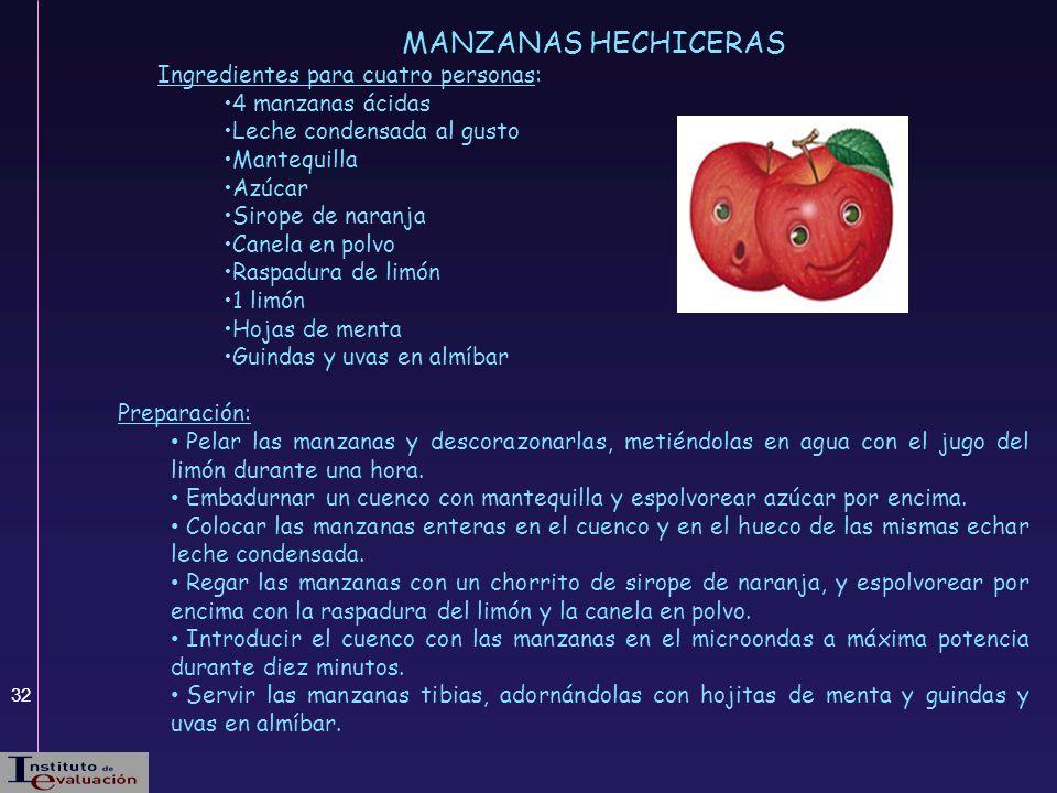 32 MANZANAS HECHICERAS Ingredientes para cuatro personas: 4 manzanas ácidas Leche condensada al gusto Mantequilla Azúcar Sirope de naranja Canela en p
