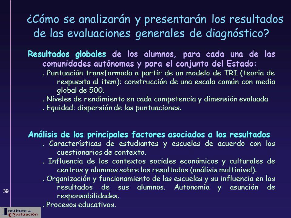 39 ¿Cómo se analizarán y presentarán los resultados de las evaluaciones generales de diagnóstico? Resultados globales de los alumnos, para cada una de