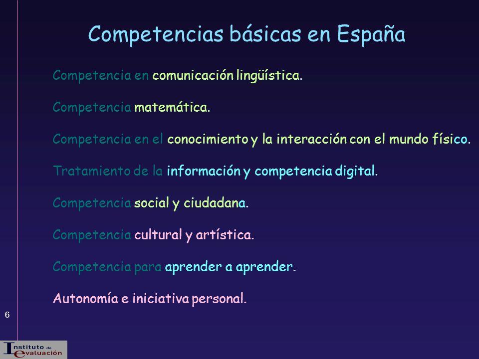 6 Competencias básicas en España Competencia en comunicación lingüística. Competencia matemática. Competencia en el conocimiento y la interacción con