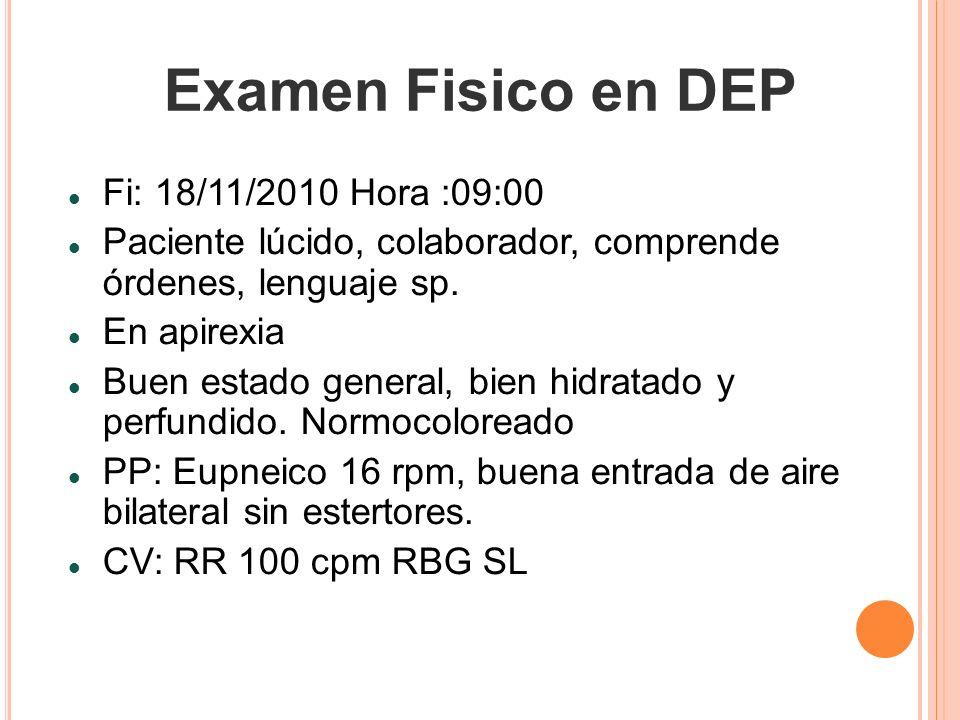 Examen Fisico en DEP Fi: 18/11/2010 Hora :09:00 Paciente lúcido, colaborador, comprende órdenes, lenguaje sp. En apirexia Buen estado general, bien hi