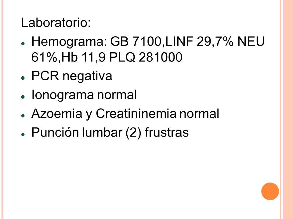 Laboratorio: Hemograma: GB 7100,LINF 29,7% NEU 61%,Hb 11,9 PLQ 281000 PCR negativa Ionograma normal Azoemia y Creatininemia normal Punción lumbar (2)