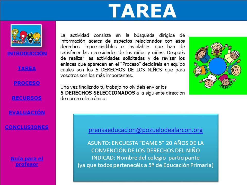 INTRODUCCIÓN TAREA PROCESO RECURSOS EVALUACIÓN CONCLUSIONES Guía para el profesor Los derechos de los niños son derechos que poseen los niños, niñas y