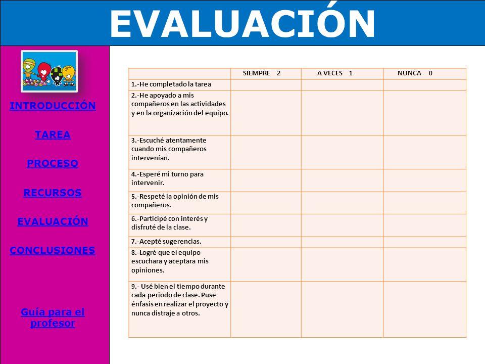 RECURSOS INTRODUCCIÓN TAREA PROCESO RECURSOS EVALUACIÓN CONCLUSIONES Guía para el profesor http://www.unicef.org/voy/spanish/explore/rights/explore_14