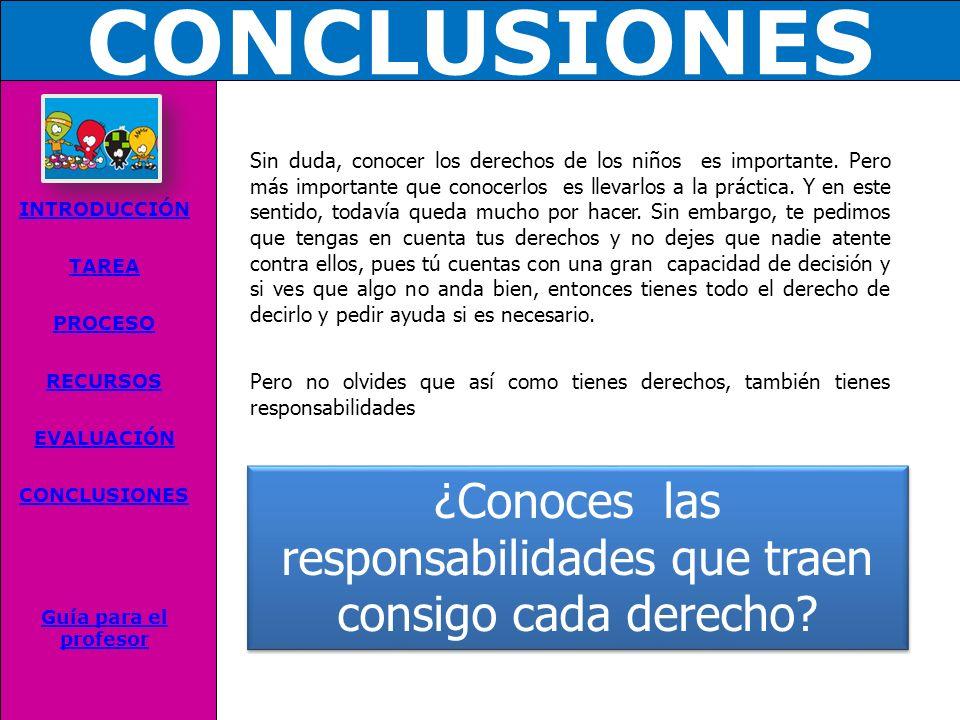 CONCLUSIONES INTRODUCCIÓN TAREA PROCESO RECURSOS EVALUACIÓN CONCLUSIONES Guía para el profesor Sin duda, conocer los derechos de los niños es importante.