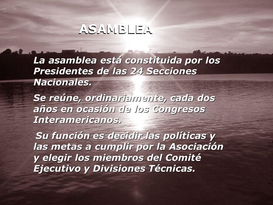 ASAMBLEA La asamblea está constituida por los Presidentes de las 24 Secciones Nacionales. Se reúne, ordinariamente, cada dos años en ocasión de los Co