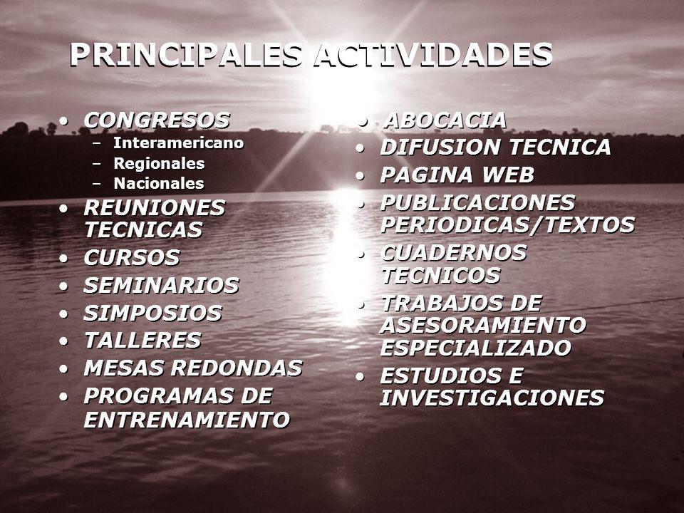 PRINCIPALES ACTIVIDADES CONGRESOS –Interamericano –Regionales –Nacionales REUNIONES TECNICAS CURSOS SEMINARIOS SIMPOSIOS TALLERES MESAS REDONDAS PROGR
