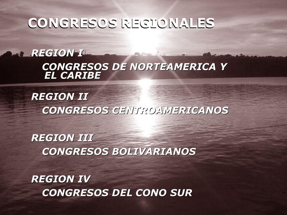 CONGRESOS REGIONALES REGION I CONGRESOS DE NORTEAMERICA Y EL CARIBE REGION II CONGRESOS CENTROAMERICANOS REGION III CONGRESOS BOLIVARIANOS REGION IV C