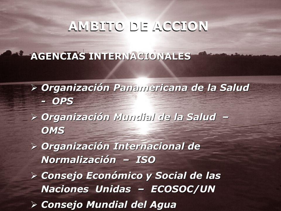 AGENCIAS INTERNACIONALES Organización Panamericana de la Salud - OPS Organización Mundial de la Salud – OMS Organización Internacional de Normalizació