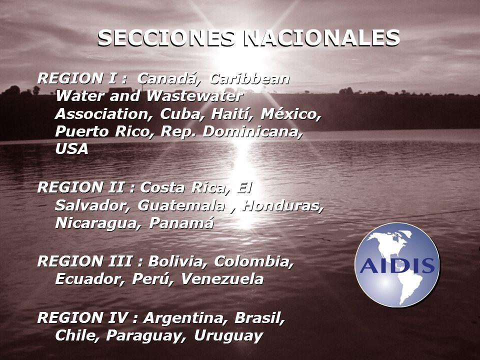 REGION I : Canadá, Caribbean Water and Wastewater Association, Cuba, Haití, México, Puerto Rico, Rep. Dominicana, USA REGION II : Costa Rica, El Salva
