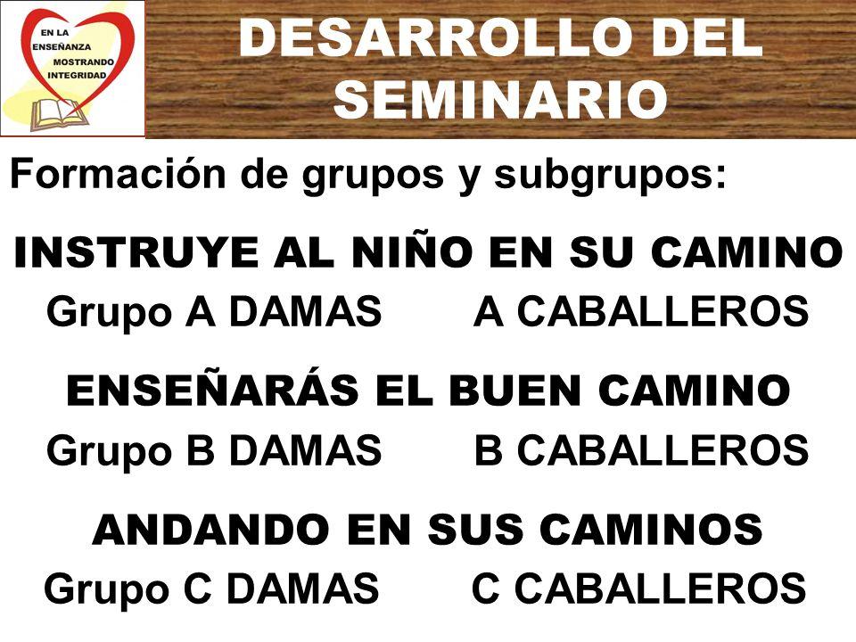 DESARROLLO DEL SEMINARIO Formación de grupos y subgrupos: INSTRUYE AL NIÑO EN SU CAMINO Grupo A DAMAS A CABALLEROS ENSEÑARÁS EL BUEN CAMINO Grupo B DA