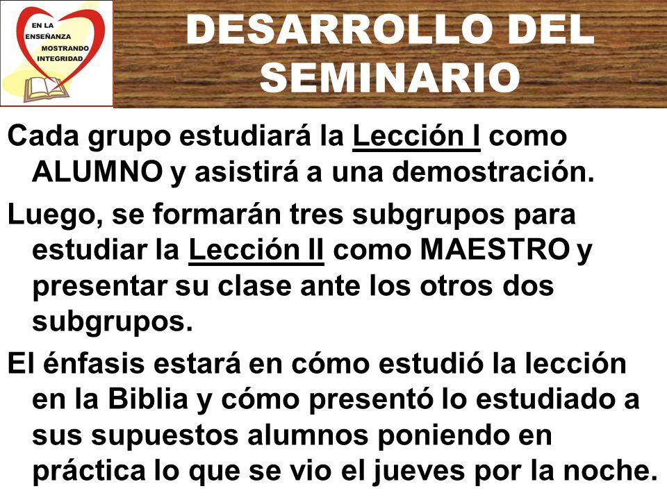 DESARROLLO DEL SEMINARIO Cada grupo estudiará la Lección I como ALUMNO y asistirá a una demostración. Luego, se formarán tres subgrupos para estudiar