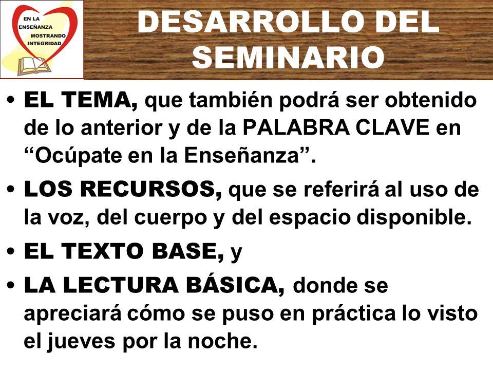 DESARROLLO DEL SEMINARIO EL TEMA, que también podrá ser obtenido de lo anterior y de la PALABRA CLAVE en Ocúpate en la Enseñanza. LOS RECURSOS, que se