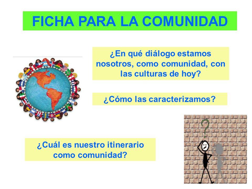 FICHA PARA LA COMUNIDAD ¿En qué diálogo estamos nosotros, como comunidad, con las culturas de hoy? ¿Cómo las caracterizamos? ¿Cuál es nuestro itinerar