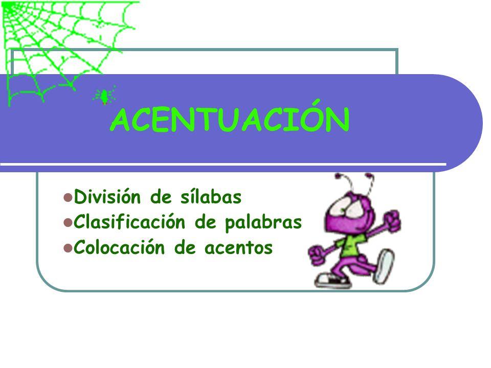 Separación de sílabas La estructura básica de una sílaba es: consonante + vocal Ej.