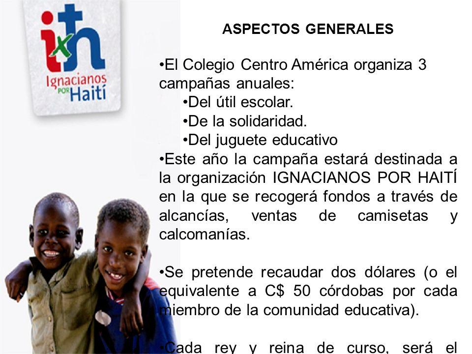 ASPECTOS GENERALES El Colegio Centro América organiza 3 campañas anuales: Del útil escolar. De la solidaridad. Del juguete educativo Este año la campa