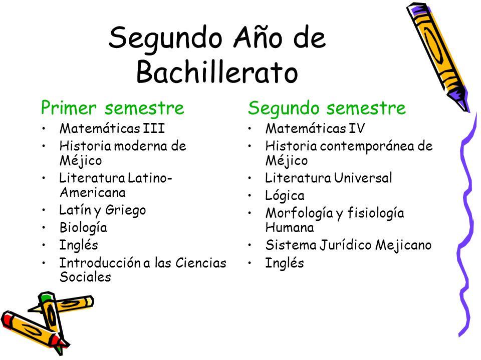 Segundo Año de Bachillerato Primer semestre Matemáticas III Historia moderna de Méjico Literatura Latino- Americana Latín y Griego Biología Inglés Int