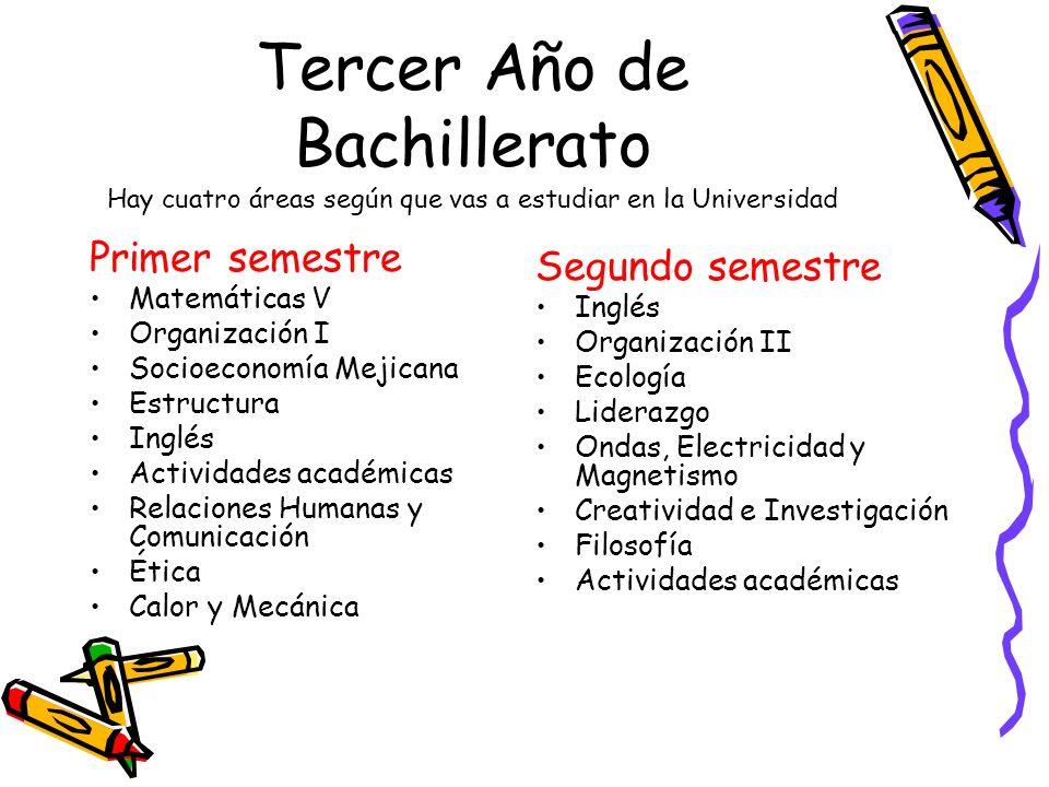 Tercer Año de Bachillerato Hay cuatro áreas según que vas a estudiar en la Universidad Primer semestre Matemáticas V Organización I Socioeconomía Meji