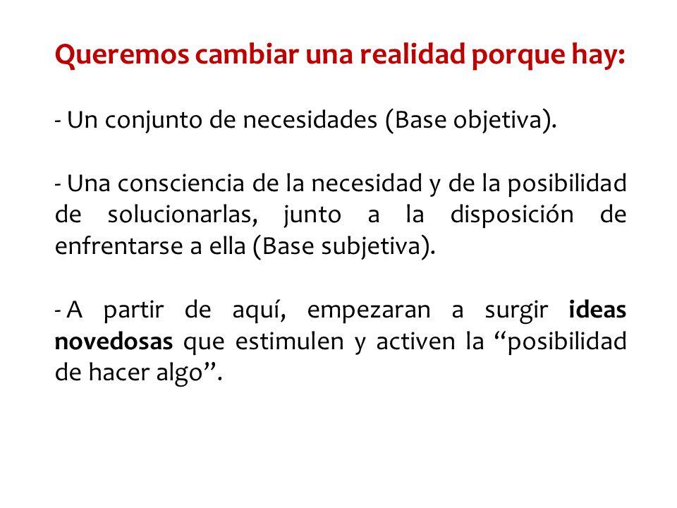 Queremos cambiar una realidad porque hay: - Un conjunto de necesidades (Base objetiva). - Una consciencia de la necesidad y de la posibilidad de soluc