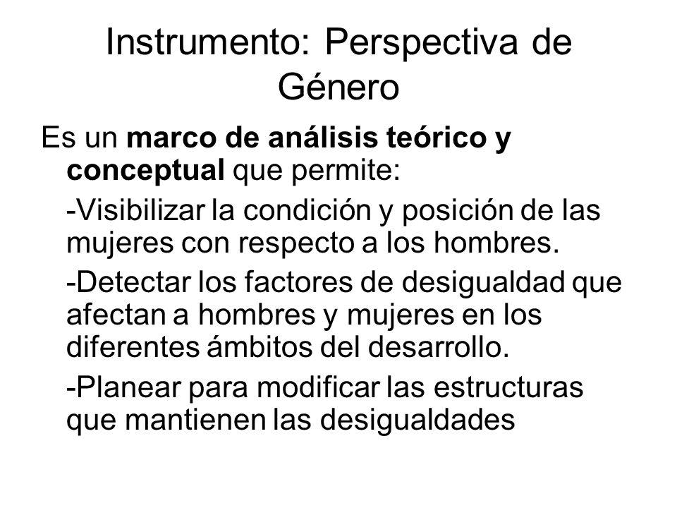 Instrumento: Perspectiva de Género Es un marco de análisis teórico y conceptual que permite: -Visibilizar la condición y posición de las mujeres con r