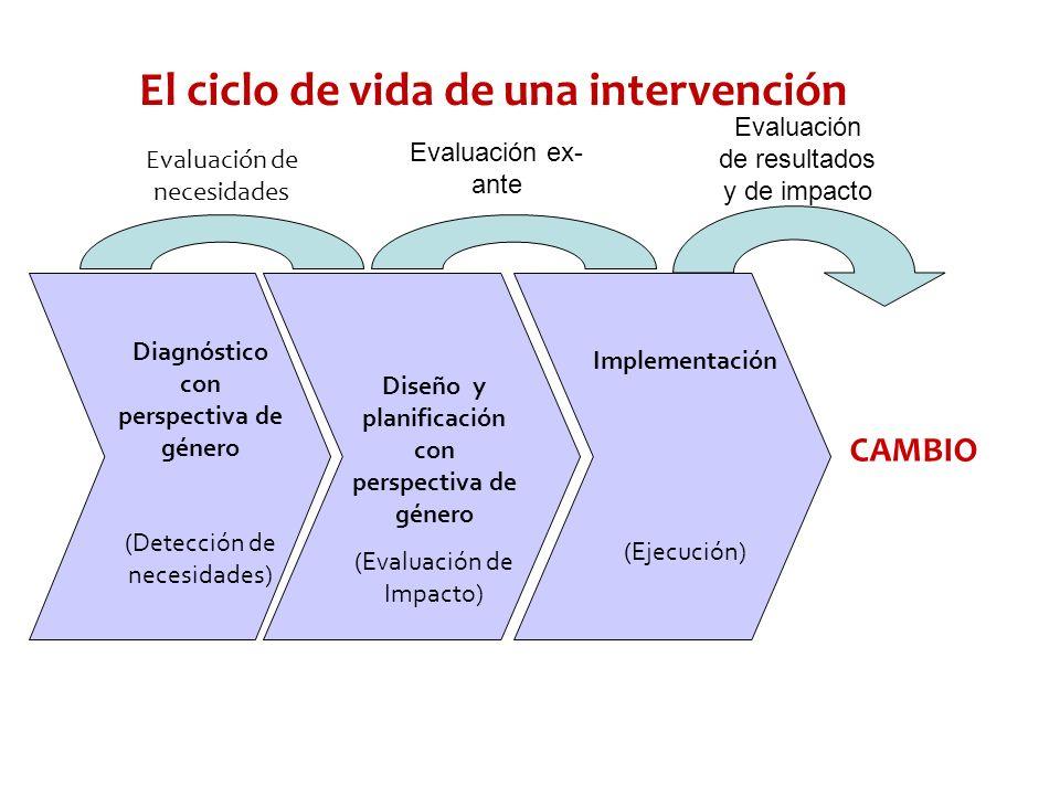 El ciclo de vida de una intervención Diagnóstico con perspectiva de género (Detección de necesidades) Diseño y planificación con perspectiva de género