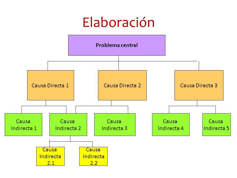 Elaboración Problema central Causa Directa 1Causa Directa 2Causa Directa 3 Causa Indirecta 1 Causa Indirecta 2 Causa Indirecta 3 Causa Indirecta 4 Cau