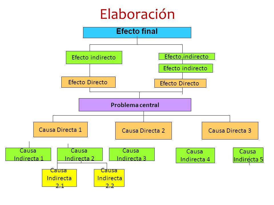 Elaboración Problema central Causa Directa 1 Causa Directa 2Causa Directa 3 Causa Indirecta 1 Causa Indirecta 2 Causa Indirecta 3 Causa Indirecta 4 Ca