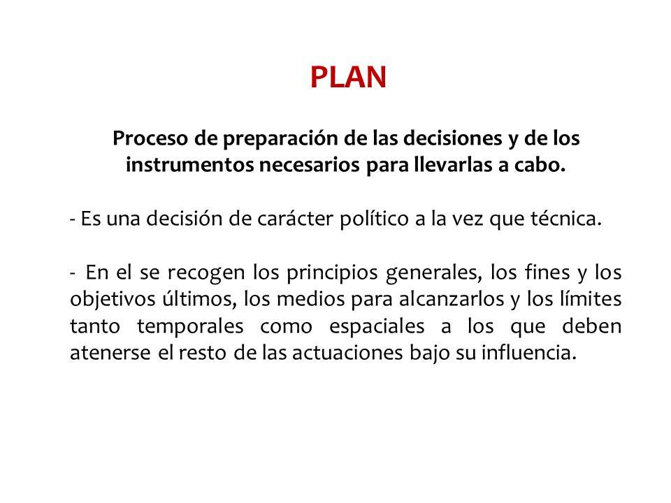 PLAN Proceso de preparación de las decisiones y de los instrumentos necesarios para llevarlas a cabo. - Es una decisión de carácter político a la vez