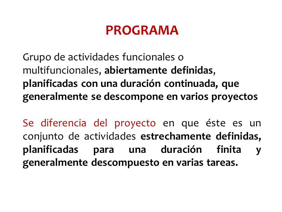 PROGRAMA Grupo de actividades funcionales o multifuncionales, abiertamente definidas, planificadas con una duración continuada, que generalmente se de