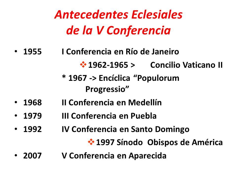 Antecedentes Eclesiales de la V Conferencia 1955I Conferencia en Río de Janeiro 1962-1965 >Concilio Vaticano II * 1967 -> Encíclica Populorum Progress