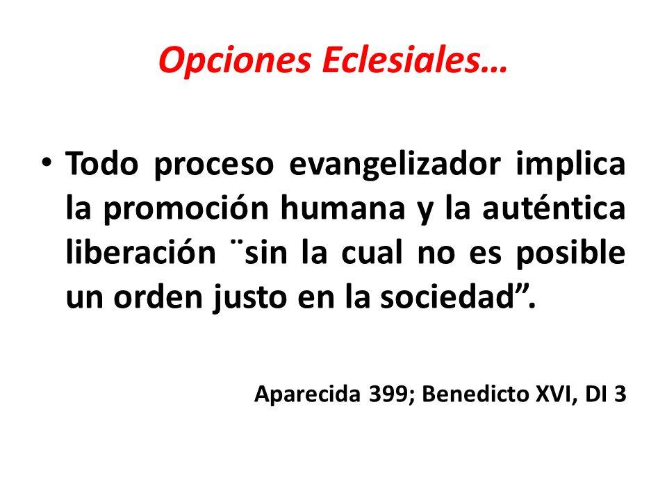 Opciones Eclesiales… Todo proceso evangelizador implica la promoción humana y la auténtica liberación ¨sin la cual no es posible un orden justo en la