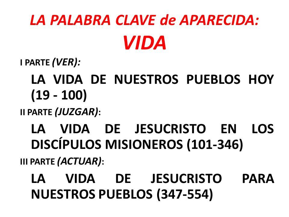 LA PALABRA CLAVE de APARECIDA: VIDA I PARTE (VER): LA VIDA DE NUESTROS PUEBLOS HOY (19 - 100) II PARTE (JUZGAR) : LA VIDA DE JESUCRISTO EN LOS DISCÍPU