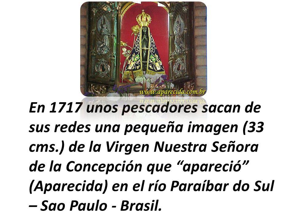 En 1717 unos pescadores sacan de sus redes una pequeña imagen (33 cms.) de la Virgen Nuestra Señora de la Concepción que apareció (Aparecida) en el rí