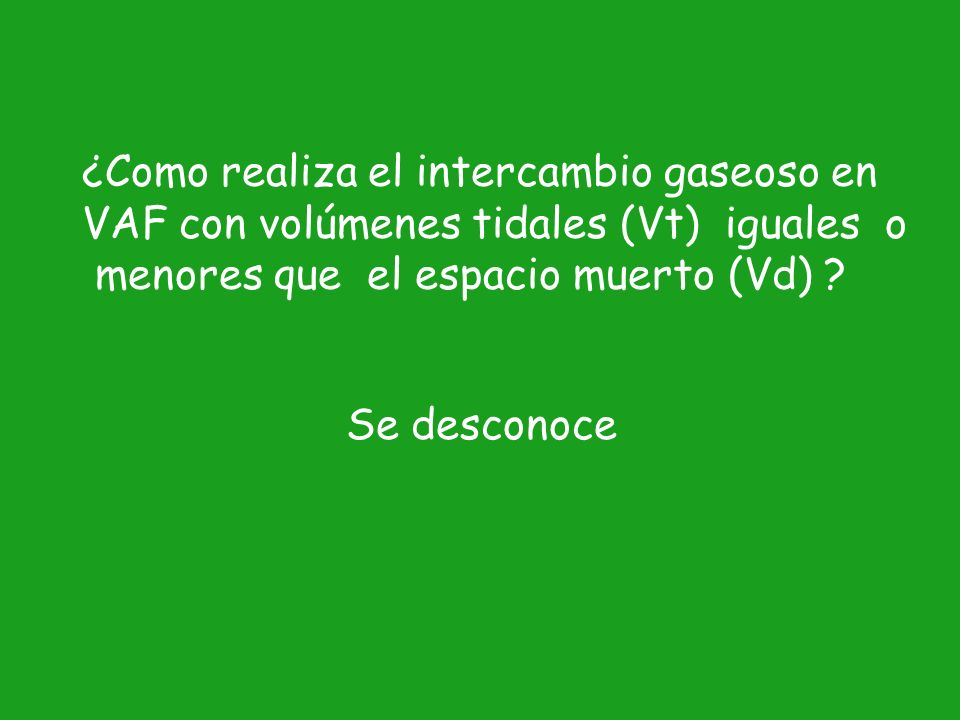 Fenómenos que pueden estar involucrados en la VAF 1.Ventilación alveolar directa 2.Perfil de velocidad del aire asimétrico 3.Pendelluf 4.Dispersión de Taylor 5.Difusión molecular