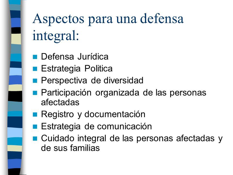 Aspectos para una defensa integral: Defensa Jurídica Estrategia Politica Perspectiva de diversidad Participación organizada de las personas afectadas