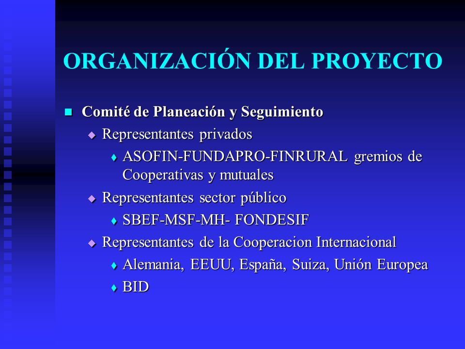 ORGANIZACIÓN DEL PROYECTO Comité de Planeación y Seguimiento Comité de Planeación y Seguimiento Representantes privados Representantes privados ASOFIN-FUNDAPRO-FINRURAL gremios de Cooperativas y mutuales ASOFIN-FUNDAPRO-FINRURAL gremios de Cooperativas y mutuales Representantes sector público Representantes sector público SBEF-MSF-MH- FONDESIF SBEF-MSF-MH- FONDESIF Representantes de la Cooperacion Internacional Representantes de la Cooperacion Internacional Alemania, EEUU, España, Suiza, Unión Europea Alemania, EEUU, España, Suiza, Unión Europea BID BID