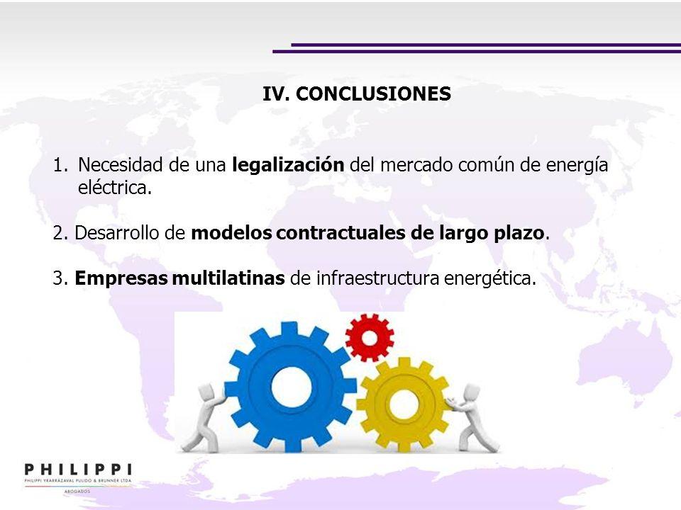 IV. CONCLUSIONES 1.Necesidad de una legalización del mercado común de energía eléctrica. 2. Desarrollo de modelos contractuales de largo plazo. 3. Emp