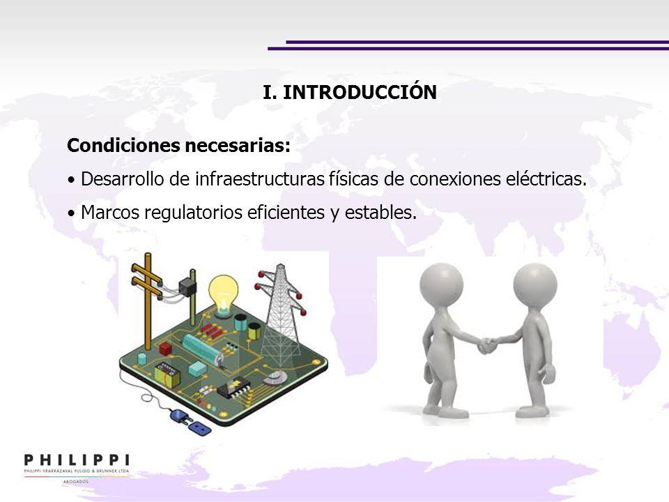 Condiciones necesarias: Desarrollo de infraestructuras físicas de conexiones eléctricas. Marcos regulatorios eficientes y estables. I. INTRODUCCIÓN